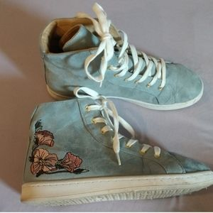 2/$25 XOX embroidered floral blue high top sneaker